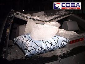 снег глыба лед автомобиль крыша вмятина|Фото:sova-tv.ru