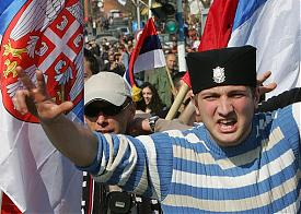 демонстрация косовских сербов, сербия, косово  Фото: http://www.russianmiami.com/