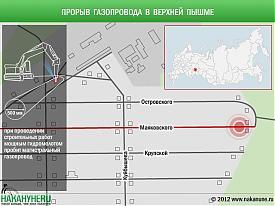 инфографика прорыв магистрального газопровода Верхняя Пышма|Фото: Накануне.RU