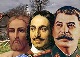 коллаж Сталин, Петр 1, Александр Невский, Русь Фото: