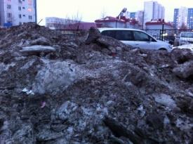гора талого снега нижневартовск|Фото:  http://insapova-online.livejournal.com/20608.html