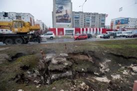 сургут, коммунальная авария, провал грунта Фото: siapress.ru