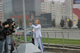 Анастасия Барышникова флаг|Фото: gubernator74.ru