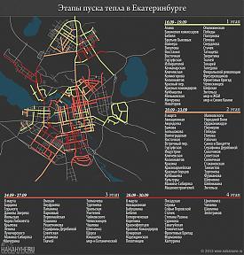 инфографика этапы пуска тепла в Екатеринбурге|Фото: Накануне.RU