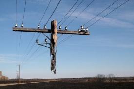 сгоревшая электроопора Южный Урал|Фото: ppschel.ru