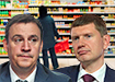Коллаж, Дмитрий Патрушев, Максим Решетников, прилавки продуктов (2020) | Фото: Накануне.RU