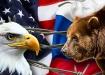Коллаж, Россия, США, белоголовый орлан, бурый медведь (2021) | Фото: Накануне.RU