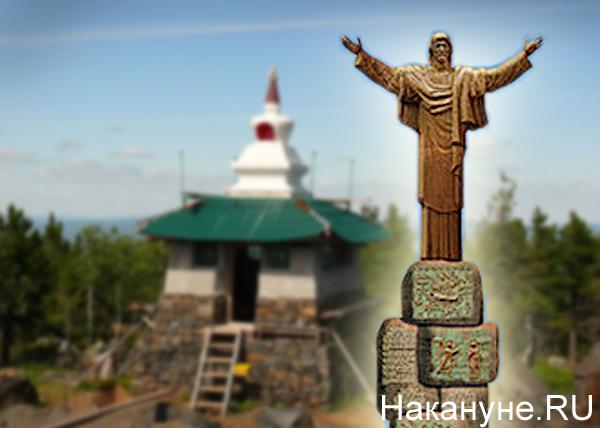 коллаж, статуя Христа, Зураб Церетели, Качканар|Фото: Накануне.RU