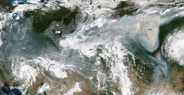 мгла, дым, дымка, смог, карта, снимок из космоса|Фото: свердловский гидрометцентр
