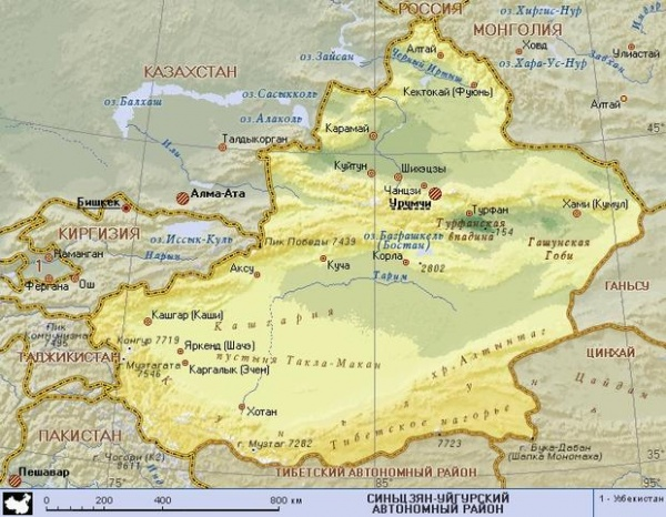 карта, КНР, Китай, Таджикистан, Киргизия, Казахстан, Пакистан, Синьцзян-Уйгурский автономный район|Фото: km.ru
