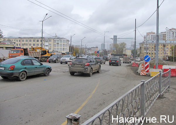 Екатеринбург, перекресток Репина-Попова, ремонтные работы, Центральный стадион|Фото: Накануне.RU