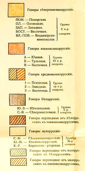 диалектологическая карта русского языка, список обозначений|Фото: