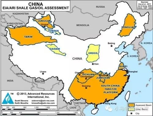 Районы Китая, богатые запасами сланцевого газа Фото:http://m.sohu.com/n/410525304/
