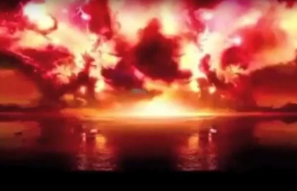 взрыв авианосца США, модель, КНДР, война|Фото: www.youtube.com/watch?v=s3sFQBheheA&feature=youtu.be