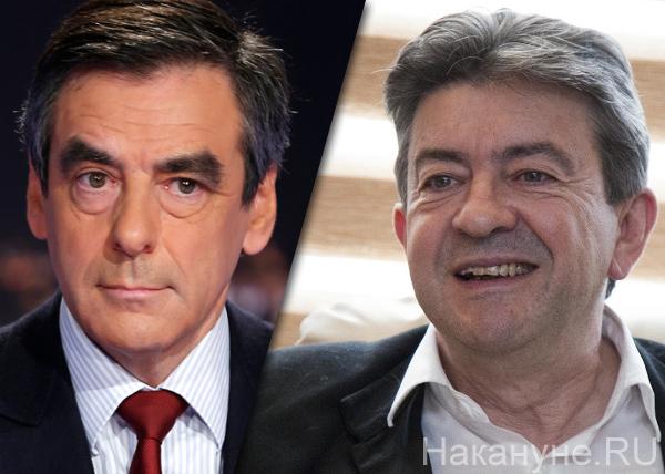 коллаж, Франсуа Фийон, Жан-Люк Меланшон, выборы во Франции|Фото: Накануне.RU