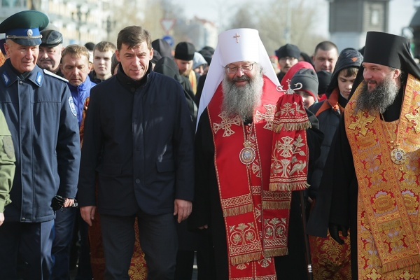 Евгений Куйвашев, митрополит Кирилл, епископ Евгений(2017)|Фото:ekaterinburg-eparhia.ru
