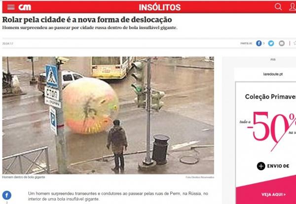 мужчина в зорбе, португальская газета Фото: http://www.cmjornal.pt