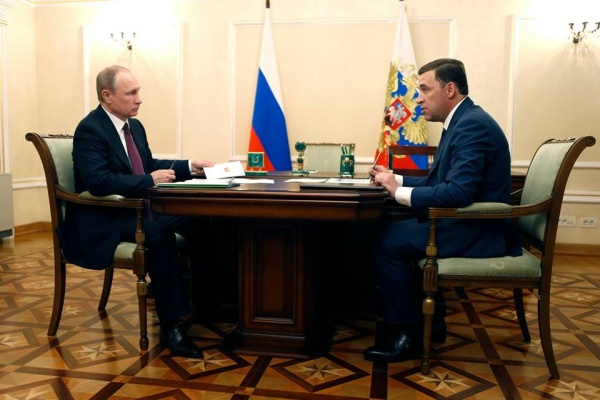 Владимир Путин, Евгений Куйвашев|Фото: Департамент информационной политики Губернатора Свердловской области
