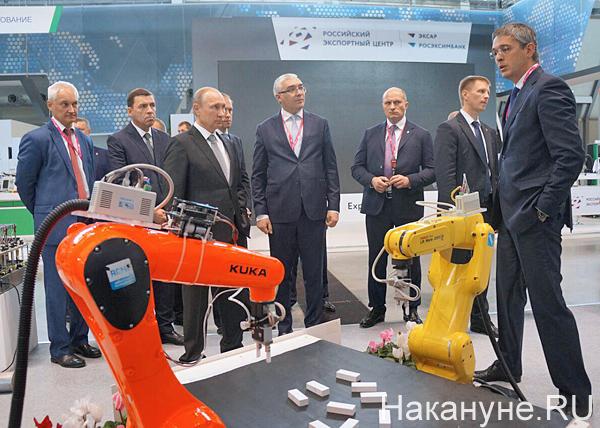 Белоусов, Куйвашев, Путин, иннопром, Стенд РВК Национальная технологическая инициатива Фото: Накануне.RU