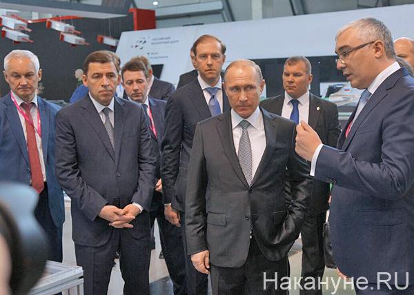 Белоусов, Куйвашев, Путин, Мантуров, иннопром, Стенд РВК Национальная технологическая инициатива|Фото: Накануне.RU