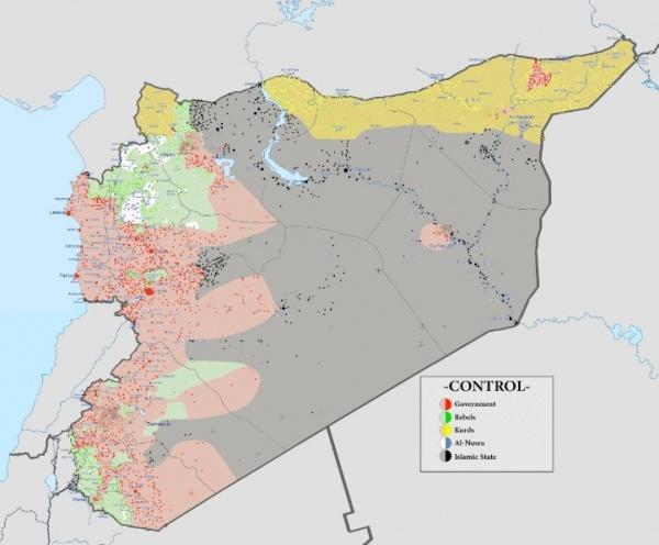 Сирия, война, карта, 30.09.2015|Фото: