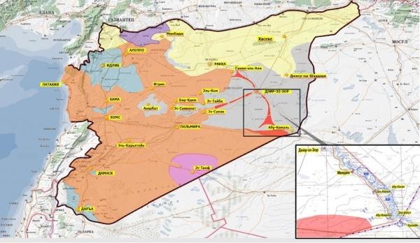 Сирия, карта, военные действия, 25.08.2017|Фото: trueinform.ru