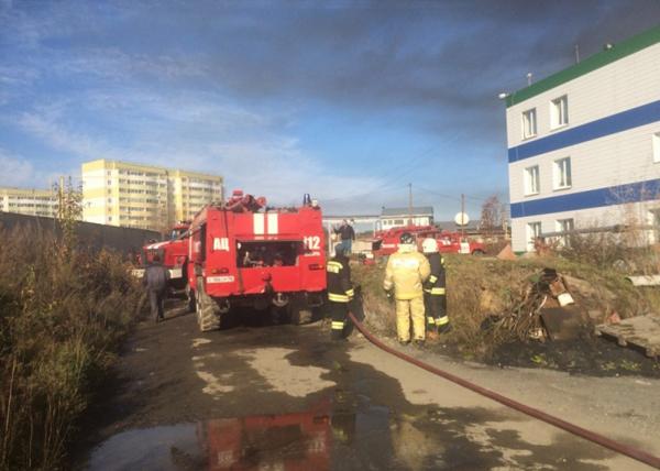 локомотивный цех, пожар, Cысерть Фото: МЧС по Свердловской области