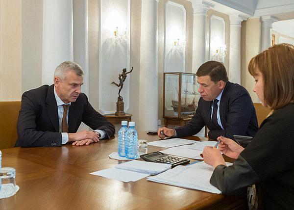 Евгений Куйвашев, Сергей Носов, встреча|Фото: Департамент информационной политики губернатора Свердловской области