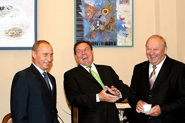 Владимир Путин, Герхард Шредер, Эдуард Россель|Фото: архив Анатолия Семехина