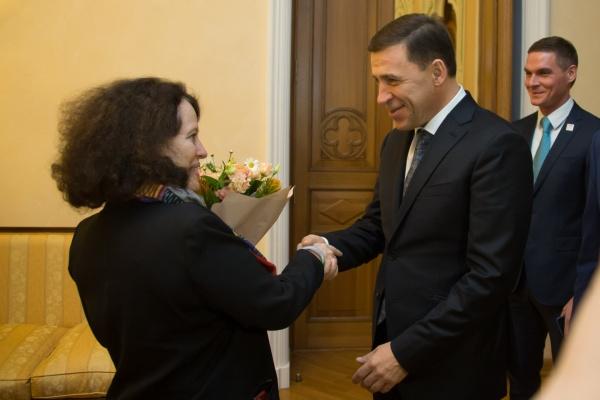 Евгений Куйвашев Сильви Берманн(2017)|Фото: ДИП губернатора Свердловской области