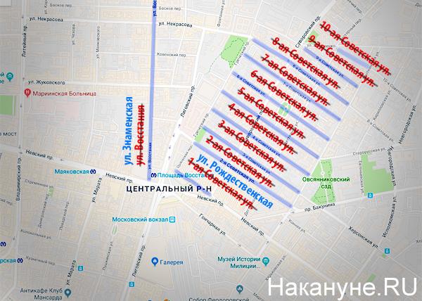 карта, Санкт-Петербург, улицы, переименование, ул. Советская, ул. Восстания(2017)|Фото: Накануне.RU
