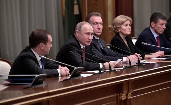 Дмитрий Медведев, Владимир Путин, Игорь Шувалов, Ольга Голодец, правительство РФ(2017)|Фото: kremlin.ru