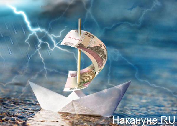 коллаж, бумажный корабль, плавание, деньги, рубль, отток капитала(2018)|Фото: Накануне.RU