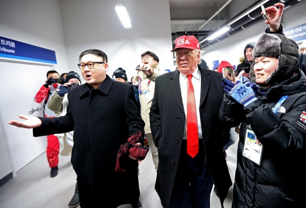 двойники Ким Чен Ына и Дональда Трампа, Олимпиада, Пхёнчхан(2018)|Фото: Twitter
