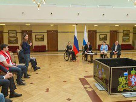 Евгений Куйвашев, Молодежка ОНФ, встреча с губернатором(2018)|Фото: официальный сайт губернатора Свердловской области
