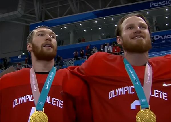сборная России по хоккею, победа на Олимпиаде, гимн(2018)|Фото: 1tv.ru