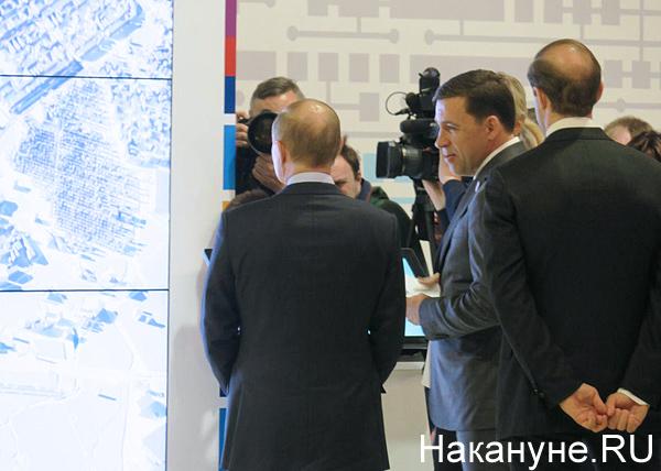 Владимир Путин, Евгений Куйвашев, презентация экспо(2018)|Фото: Накануне.RU