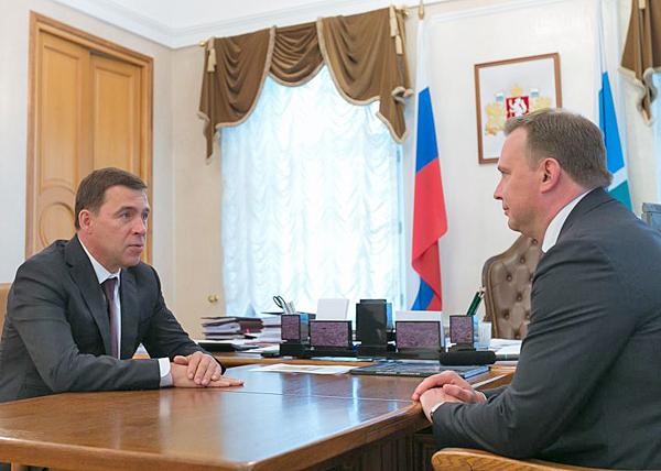 Евгений Куйвашев, Владислав Пинаев(2018)|Фото: информационный портал Свердловской области