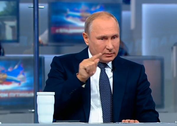 Прямая линия, Владимир Путин(2018) Фото: Россия 24