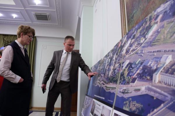 совещание по подготовке Челябинска к ШОС, эскиз набережной,(2018)|Фото: пресс-служба губернатора Челябинской области
