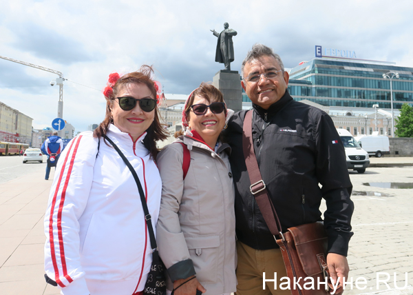 перуанские болельщики, памятник Ленину, Екатеринбург, Хосе(2018) Фото: Накануне.RU