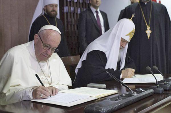 подписание декларации  Патриархом Кириллом и Папой Римским Франциском (12.02.16.)(2018)|Фото: L`Osservatore Romano