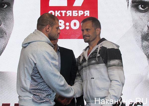 Иван Штырков, Николай Клименко, Фабио Мальдонадо, пресс-конференция перед боем(2018)|Фото: Накануне.RU