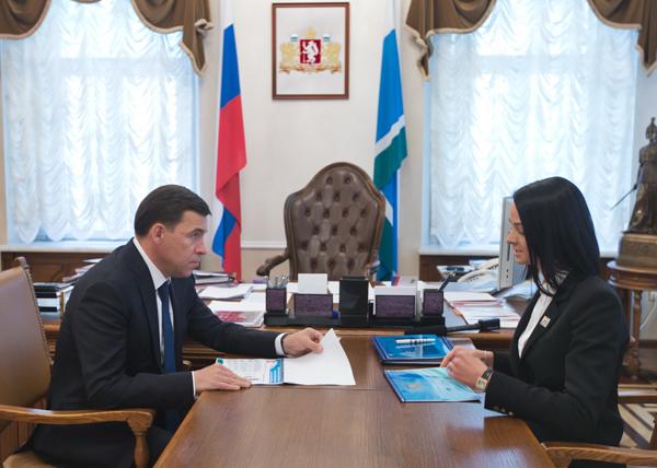 Евгений Куйвашев, Ольга Глацких(2018)|Фото: Департамент информационной политики губернатора Свердловской области