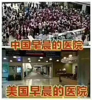 Демотиватор о переполненности китайских больниц(2019)|Фото: tupian.baidu.com