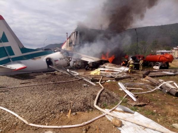 Ан-24 Ангара пожар аварийная посадка(2019)|Фото:пресс-служба ГУ МЧС РФ по Республике Бурятия