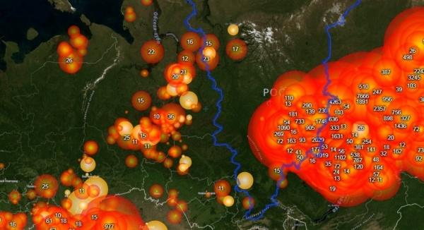 карта лесных пожаров(2019) Фото: fires.ru