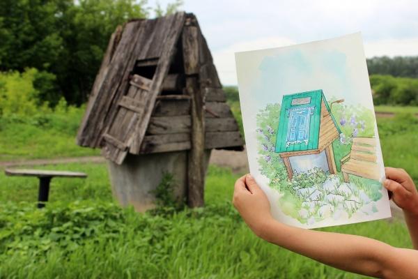 колодец, рисунок, деревня(2019)|Фото: пресс-служба Воронежской областной думы