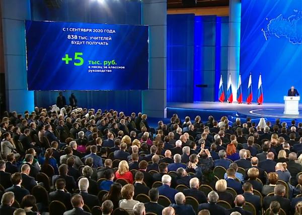 Послание Владимира Путина Федеральному собранию(2020) Фото: youtube.com