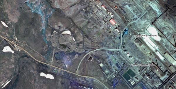 Разлив дизеля на ТЭЦ-3 в Норильске.(2020) Фото: Роскосмос